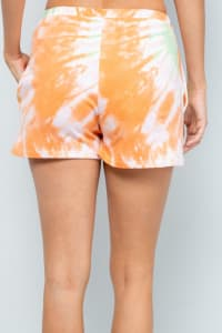 Vibrant Tie Dye Print Shorts - Orange - Back