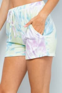 Vibrant Tie Dye Print Shorts - Yellow - Back