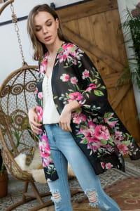 Floral Print Kimono - Black - Back
