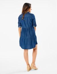 3/4 Sleeve Denim Shirt Dress - Dark Wash - Back