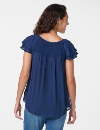 Textured Smock Neck Woven Peasant Top - Navy - Back