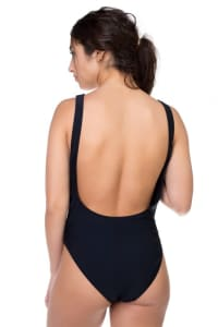 One Piece Selfie Print Swimsuit - Black - Back