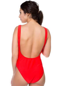 One Piece Honey Print Swimsuit - Red - Back