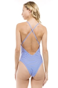 One Piece Striped Ft Ruffle Swimsuit - Royal - Back