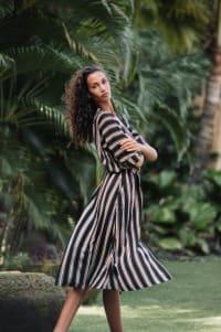 Kaftan Striped Dress - Black stripe - Back
