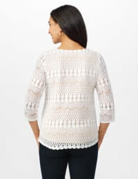 Lined Lace Knit Top - Ivory/Nude - Back