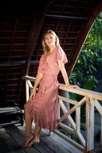 Polka Dot Wrap Dress - Salmon - Back