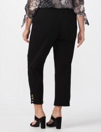 Pull On Crop Ankle Pants with Novelty Rhinestone Trim at Hem - Black - Back
