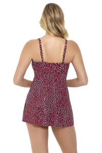Penbrooke Baby Spice Shirred Bodice Flyaway Swimdress Swimsuit - Brick - Back