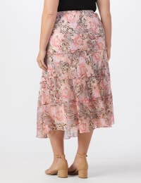 4 Tiered Elastic Waistband Skirt - Blush/taupe.black - Back