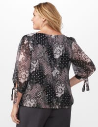Metallic Tie Sleeve Bubble Hem Blouse - Black/Rose - Back
