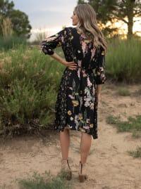 Luna Handkerchief  Dress - BLACK/PINK - Back
