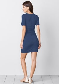 Rouched side Midi Dress with Criss-cross Detail - Denim - Back