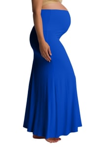 Ultra-Soft Maternity Fold-Over Skirt - Royal Blue - Back