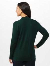Roz & Ali Scallop Trim Cardigan - Misses - Pine Green - Back