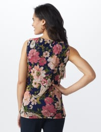 Mesh Tiered Floral Knit Top - Misses - Navy - Back
