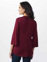 Bell Sleeve Crochet Trim V-Neck Knit Top - Misses - Ruby - Back