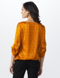 Roz & Ali Diamond Bubble Hem Blouse - Misses - Mustard - Back