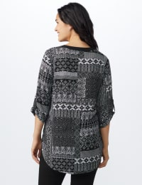 Patchwork Solid Piped Woven Popover - Black/White - Back
