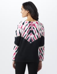 French Terry Tie Dye Knit Top - Black - Back