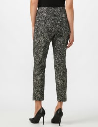 Roz & Ali Paisley Print Superstretch Pull On Ankle Pants With Slits - Black Pattern - Back
