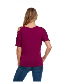 Strappy Single Cold Shoulder Top - Magenta - Back