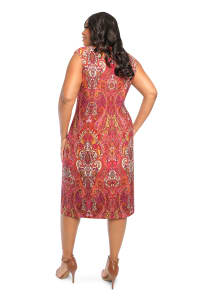 Scroll Sheath Dress - Plus - Red Multi - Back