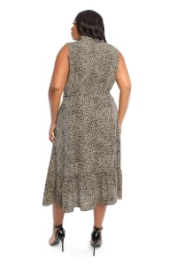 Animal Wrap Dress - Plus - Black/yellow - Back