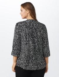 Geo Pintuck Knit Popover - Black-Off white - Back
