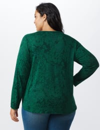 Jacquard Knit Top - Plus - Forest - Back