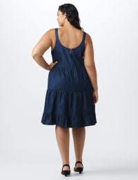 Denim Tiered Tank Dress - Plus - dark wash - Back