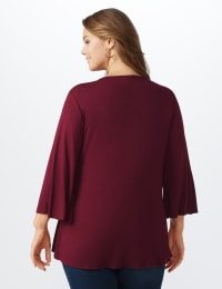 Bell Sleeve Crochet Trim V-Neck Knit Top - Plus - Ruby - Back