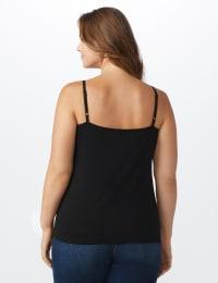 Pre-Order Picot Trim Cotton Spandex Cami - Plus - Black - Back