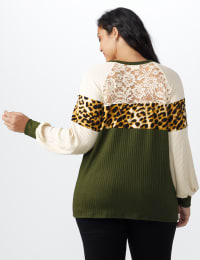 Olive Animal Mix Media Knit Top - Plus - Olive - Back