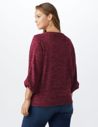 Button Shoulder V-Neck Hacci Top - Plus - Burgundy - Back