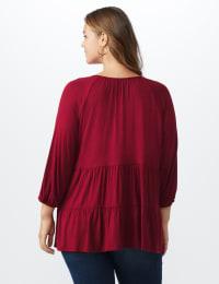 Split V-Neck Tiered Knit Top - Ruby - Back