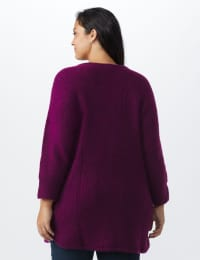 Westport Basketweave Stitch Curved Hem Sweater - Plus - Berry Wine - Back