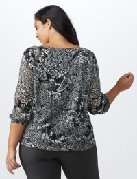 Paisley Metallic Bubble Hem Blouse - Plus - Ivory/Black - Back