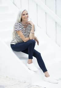 Lace Up Stripe Knit Top - Black/White - Back
