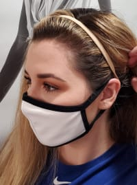 Pre-Order Men/ Women /Children Contoured Washable Cotton Face Masks - White/Black - Back