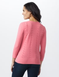 Roz & Ali Pointelle Button-Up Cardigan - Misses - Pink - Back