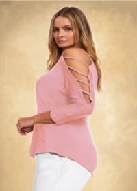 3/4 Sleeve Strappy Shoulder Knit Top - Plus - Rose - Back