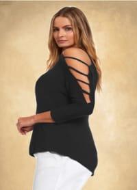 3/4 Sleeve Strappy Shoulder Knit Top - Plus - Black - Back