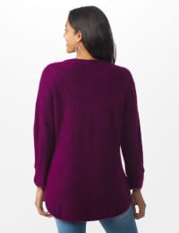 Westport Basketweave Stitch Curved Hem Sweater - Misses - Berry Wine - Back