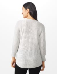 Westport Thermal Stitch Curved Hem Sweater - Misses - Fog Heather - Back
