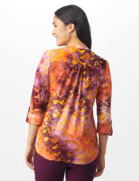 Tie Dye Clip Dot Jaquard Popover - Wine/Orange - Back