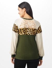 Olive Animal Mix Media Knit Top - Misses - Olive - Back