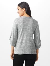 Button Shoulder V-Neck Hacci Top - Misses - Black - Back