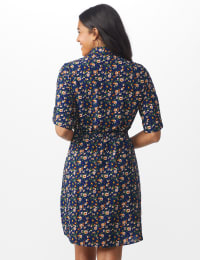 Ditsy Print Shirt Dress - Misses - Navy - Back
