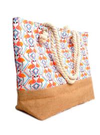 Flamingo Tote Beach Bag - Light Beige - Back